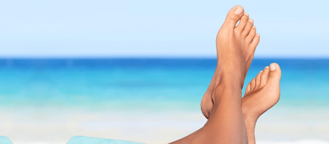 feet view in ocean